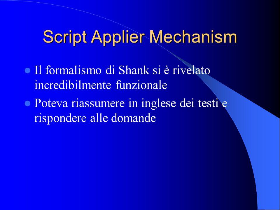 Script Applier Mechanism Il formalismo di Shank si è rivelato incredibilmente funzionale Poteva riassumere in inglese dei testi e rispondere alle domande