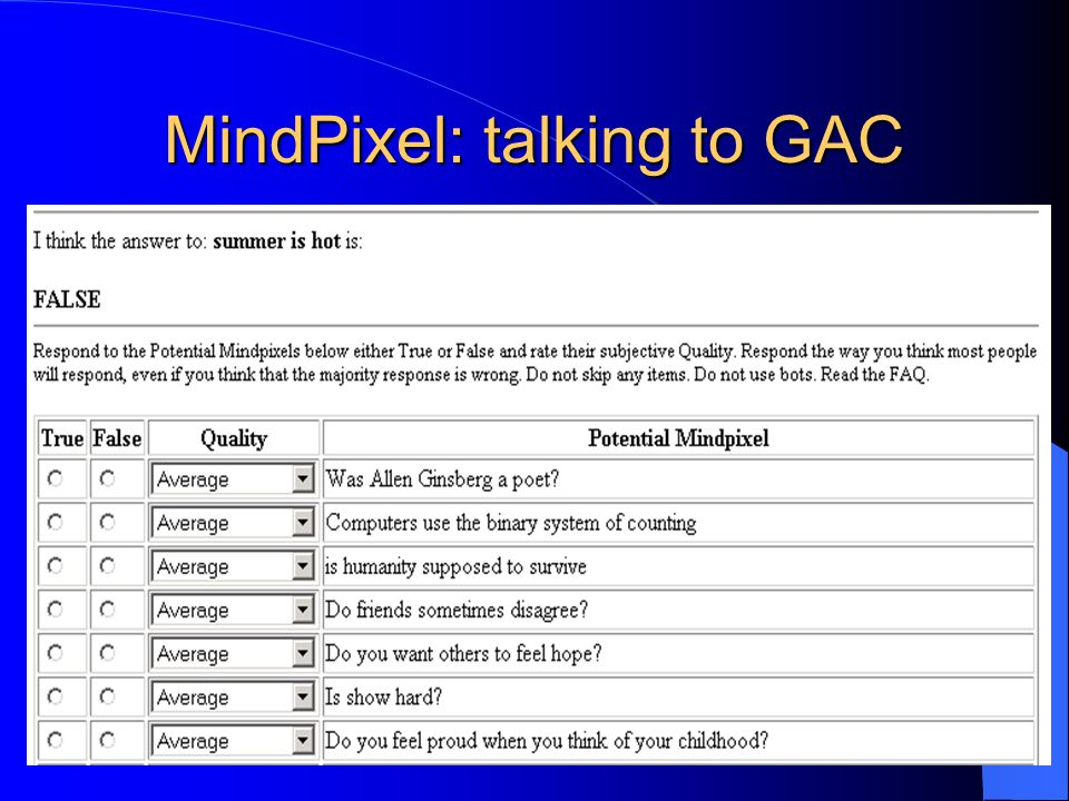 MindPixel: talking to GAC