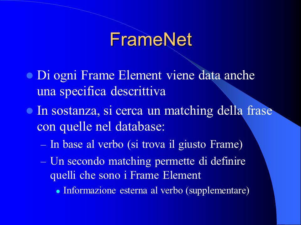 FrameNet Di ogni Frame Element viene data anche una specifica descrittiva In sostanza, si cerca un matching della frase con quelle nel database: – In base al verbo (si trova il giusto Frame) – Un secondo matching permette di definire quelli che sono i Frame Element Informazione esterna al verbo (supplementare)