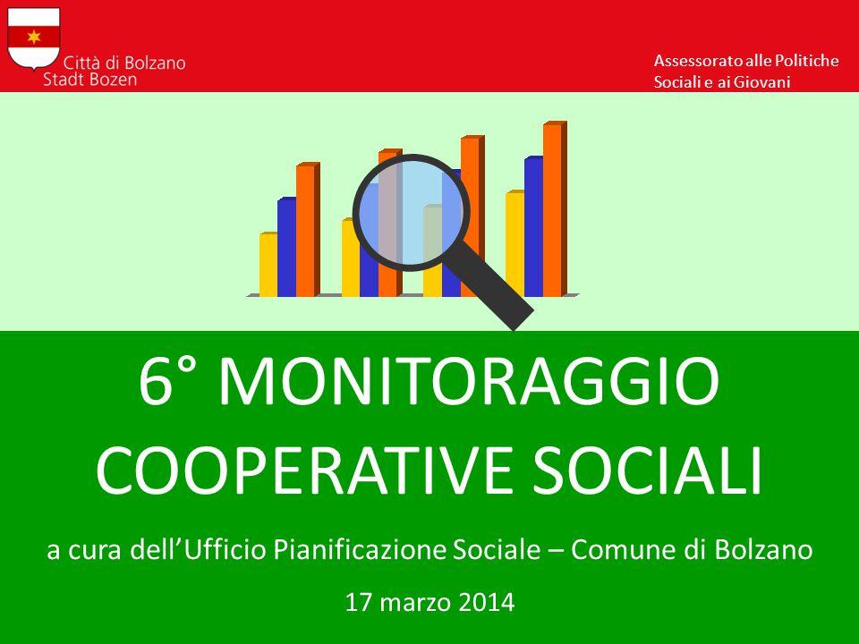 6° MONITORAGGIO COOPERATIVE SOCIALI a cura dell'Ufficio Pianificazione Sociale – Comune di Bolzano 17 marzo 2014 Assessorato alle Politiche Sociali e