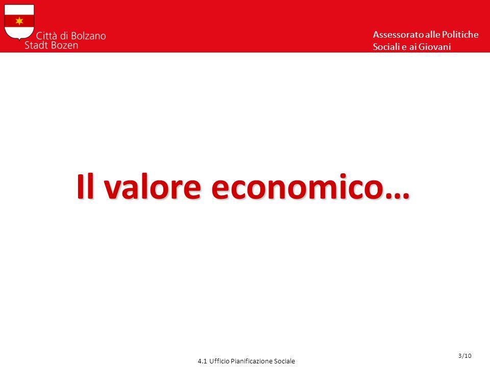 Il valore economico… Assessorato alle Politiche Sociali e ai Giovani 4.1 Ufficio Pianificazione Sociale 3/10