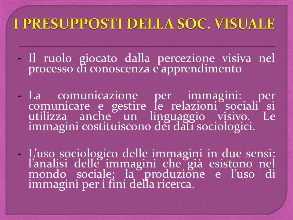 - Il ruolo giocato dalla percezione visiva nel processo di conoscenza e apprendimento  - La comunicazione per immagini: per comunicare e gestire le relazioni sociali si utilizza anche un linguaggio visivo.