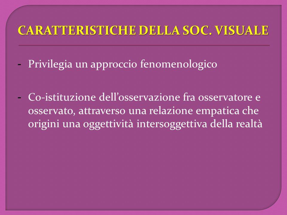 CARATTERISTICHE DELLA SOC. VISUALE CARATTERISTICHE DELLA SOC.