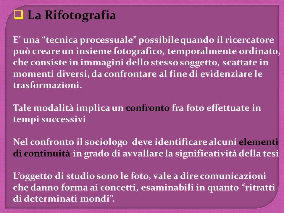  La Rifotografia E' una tecnica processuale possibile quando il ricercatore può creare un insieme fotografico, temporalmente ordinato, che consiste in immagini dello stesso soggetto, scattate in momenti diversi, da confrontare al fine di evidenziare le trasformazioni.