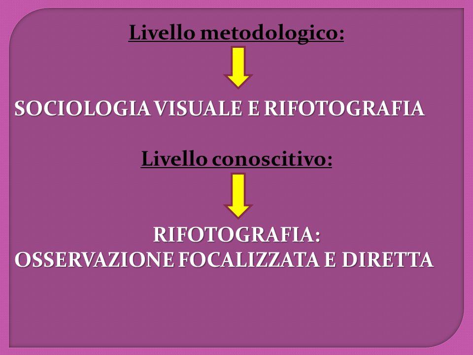 Livello metodologico: SOCIOLOGIA VISUALE E RIFOTOGRAFIA Livello conoscitivo:RIFOTOGRAFIA: OSSERVAZIONE FOCALIZZATA E DIRETTA