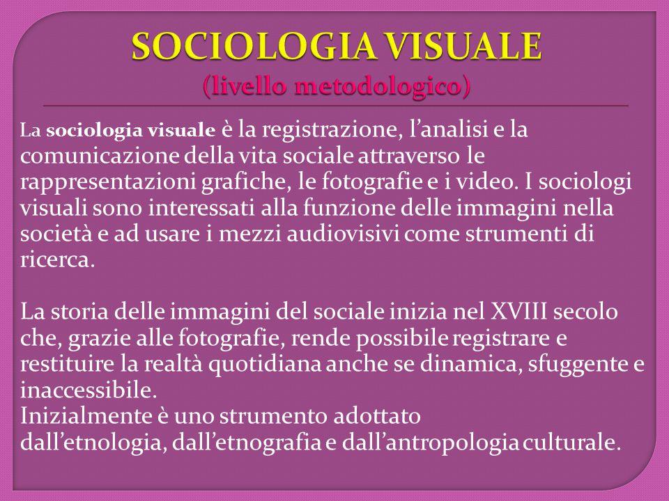 La sociologia visuale è la registrazione, l'analisi e la comunicazione della vita sociale attraverso le rappresentazioni grafiche, le fotografie e i video.