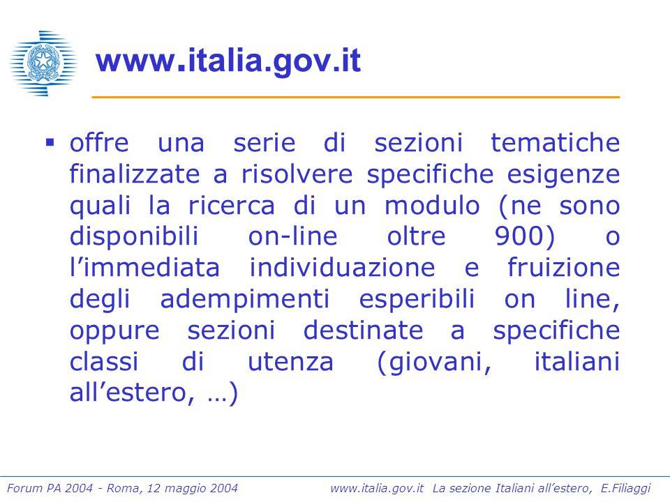 Forum PA 2004 - Roma, 12 maggio 2004 www.italia.gov.it La sezione Italiani all'estero, E.Filiaggi I risultati