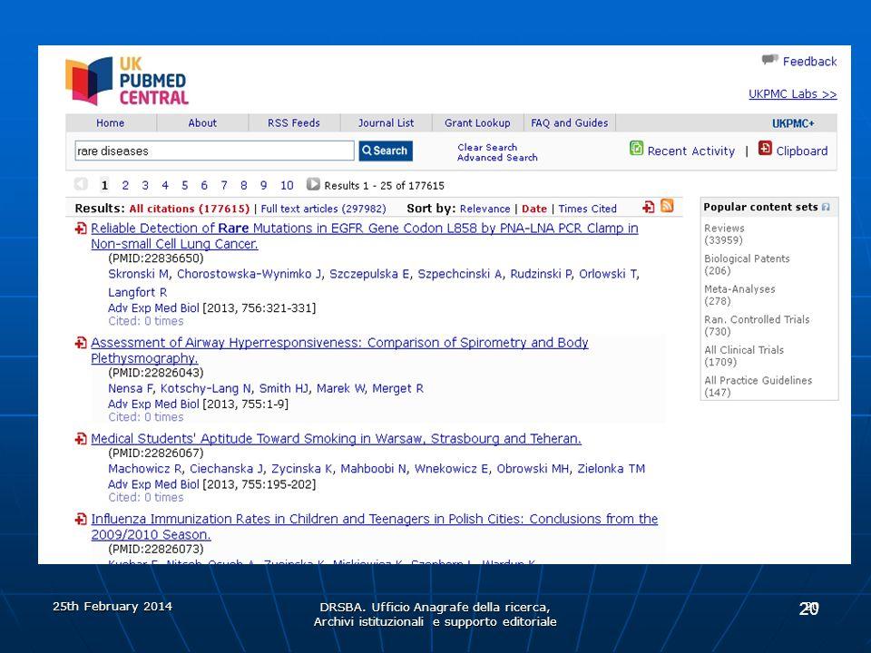 DRSBA. Ufficio Anagrafe della ricerca, Archivi istituzionali e supporto editoriale 20 25th February 2014