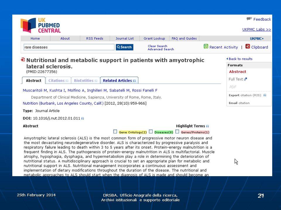 DRSBA. Ufficio Anagrafe della ricerca, Archivi istituzionali e supporto editoriale 21 25th February 2014