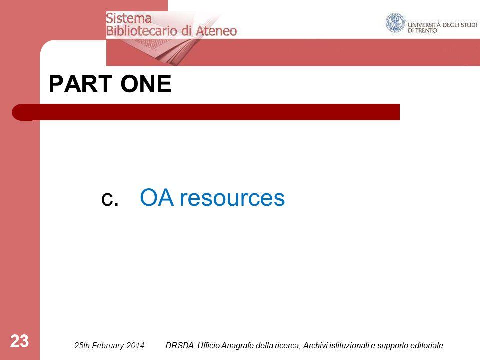 DRSBA. Ufficio Anagrafe della ricerca, Archivi istituzionali e supporto editoriale 23 PART ONE c. OA resources 25th February 2014DRSBA. Ufficio Anagra