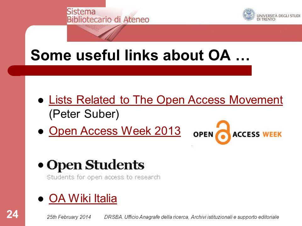 25th February 2014DRSBA. Ufficio Anagrafe della ricerca, Archivi istituzionali e supporto editoriale 24 Some useful links about OA … Lists Related to