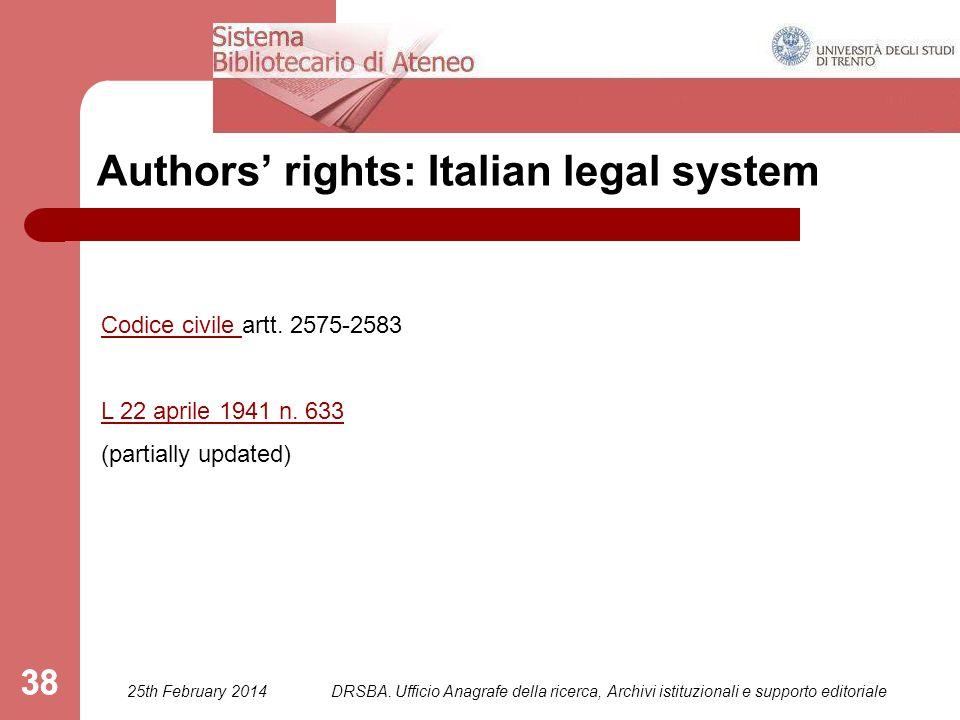 DRSBA. Ufficio Anagrafe della ricerca, Archivi istituzionali e supporto editoriale 38 Authors' rights: Italian legal system Codice civile Codice civil