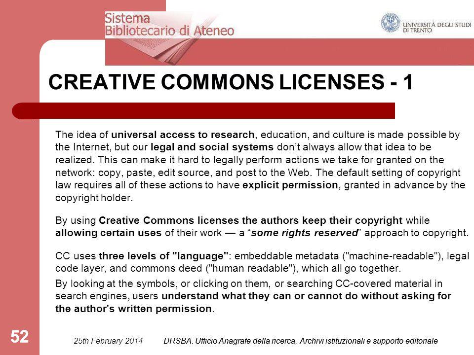 DRSBA. Ufficio Anagrafe della ricerca, Archivi istituzionali e supporto editoriale 52 CREATIVE COMMONS LICENSES - 1 The idea of universal access to re