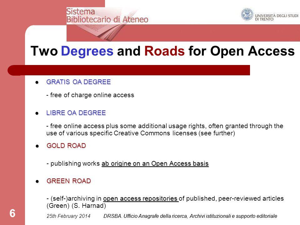 DRSBA. Ufficio Anagrafe della ricerca, Archivi istituzionali e supporto editoriale 6 Two Degrees and Roads for Open Access GOLD ROAD GOLD ROAD ab orig
