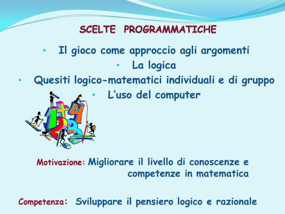 Il gioco come approccio agli argomenti La logica Quesiti logico-matematici individuali e di gruppo L'uso del computer Competenza : Sviluppare il pensiero logico e razionale Motivazione: Migliorare il livello di conoscenze e competenze in matematica