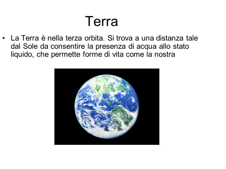 Terra La Terra è nella terza orbita. Si trova a una distanza tale dal Sole da consentire la presenza di acqua allo stato liquido, che permette forme d