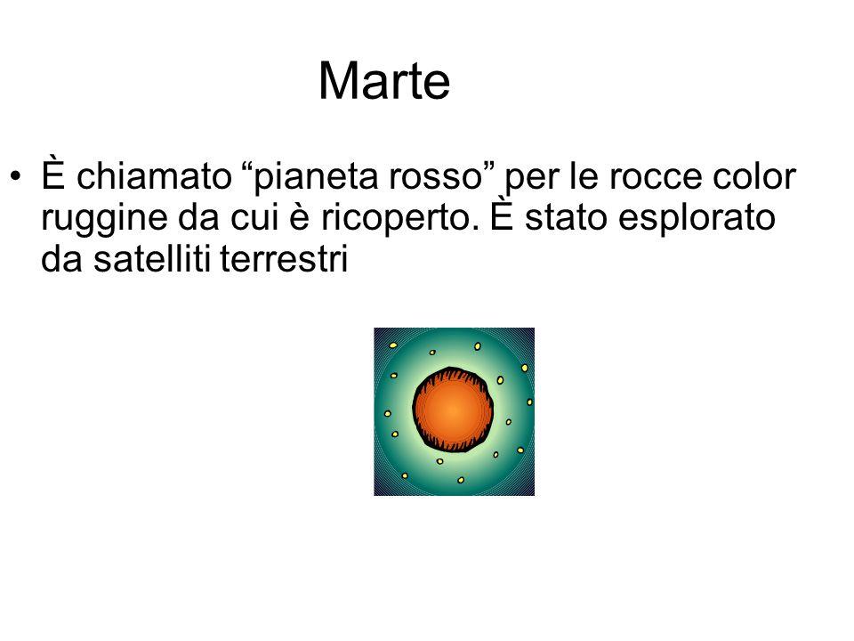 """Marte È chiamato """"pianeta rosso"""" per le rocce color ruggine da cui è ricoperto. È stato esplorato da satelliti terrestri"""