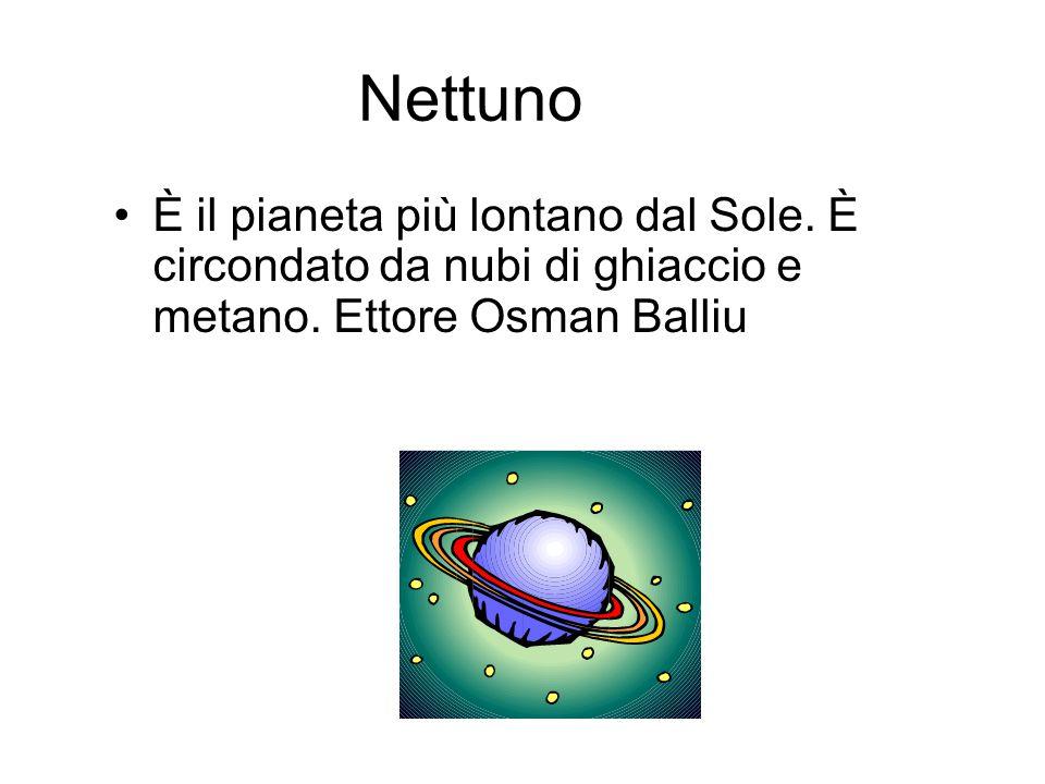 Nettuno È il pianeta più lontano dal Sole.È circondato da nubi di ghiaccio e metano.