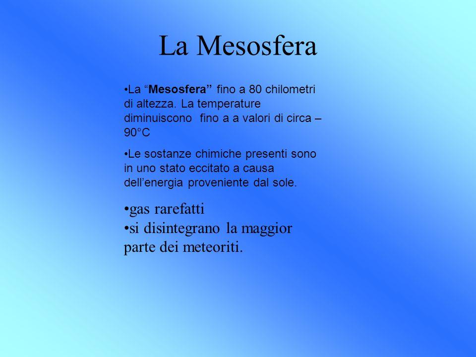 La Mesosfera La Mesosfera fino a 80 chilometri di altezza.