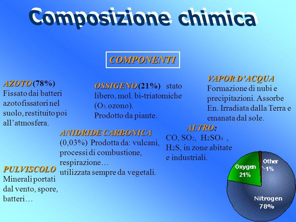 COMPONENTI AZOTO AZOTO (78%) Fissato dai batteri azotofissatori nel suolo, restituito poi all'atmosfera.