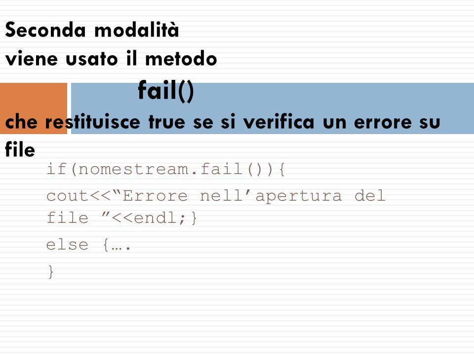 Controllo sulla fine del file  1° metodo while (fin>>variabile)  2° metodo Uso del metodo eof()