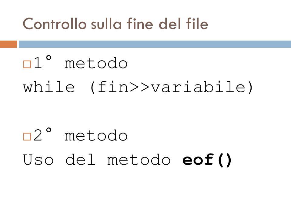 Sintassi per uso eof() nomestream>> variabile while(!nomestream.eof()) {cout<<variabile<<endl; nomestream>>variabile; }