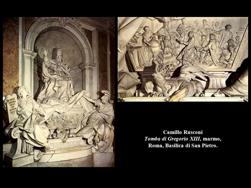 Camillo Rusconi Tomba di Gregorio XIII, marmo, Roma, Basilica di San Pietro.