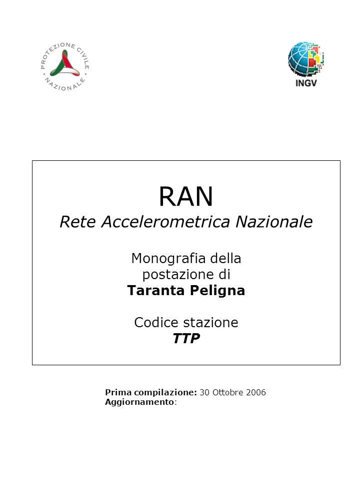 RAN Rete Accelerometrica Nazionale Monografia della postazione di Taranta Peligna Codice stazione TTP Prima compilazione: 30 Ottobre 2006 Aggiornamento: