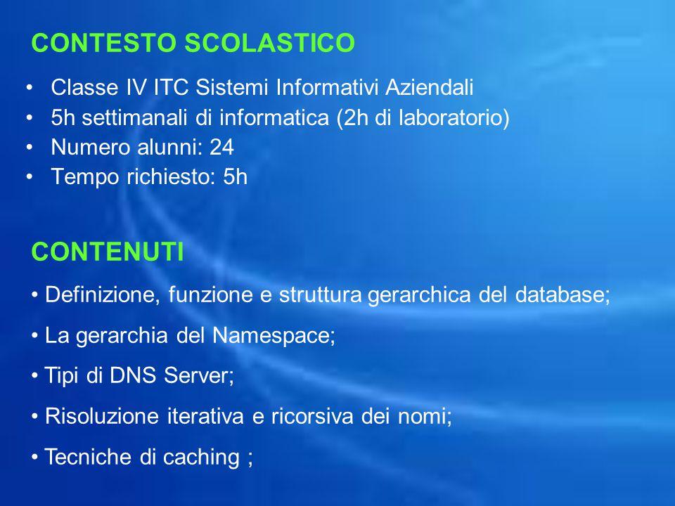CONTESTO SCOLASTICO Classe IV ITC Sistemi Informativi Aziendali 5h settimanali di informatica (2h di laboratorio) Numero alunni: 24 Tempo richiesto: 5