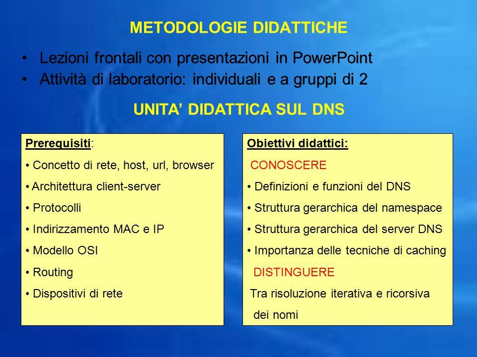 METODOLOGIE DIDATTICHE Lezioni frontali con presentazioni in PowerPoint Attività di laboratorio: individuali e a gruppi di 2 Lezioni frontali con pres