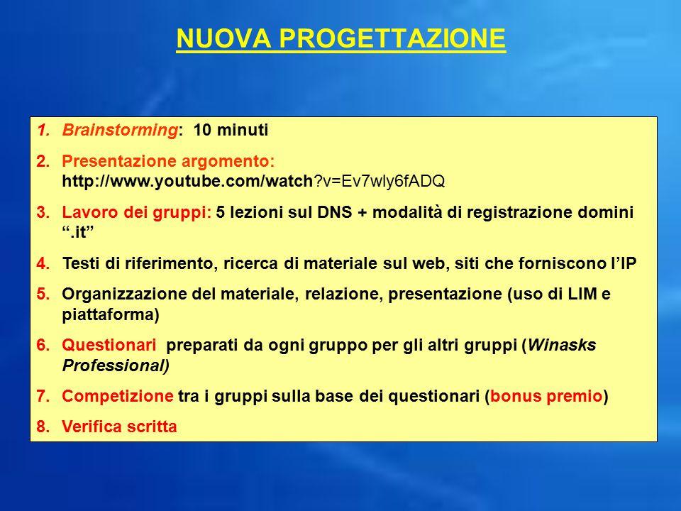 NUOVA PROGETTAZIONE 1.Brainstorming: 10 minuti 2.Presentazione argomento: http://www.youtube.com/watch?v=Ev7wly6fADQ 3.Lavoro dei gruppi: 5 lezioni su