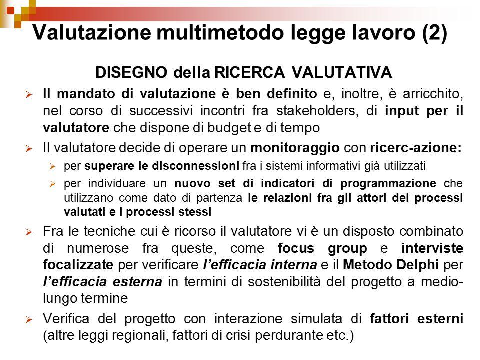 Valutazione multimetodo legge lavoro (2) DISEGNO della RICERCA VALUTATIVA  Il mandato di valutazione è ben definito e, inoltre, è arricchito, nel cor