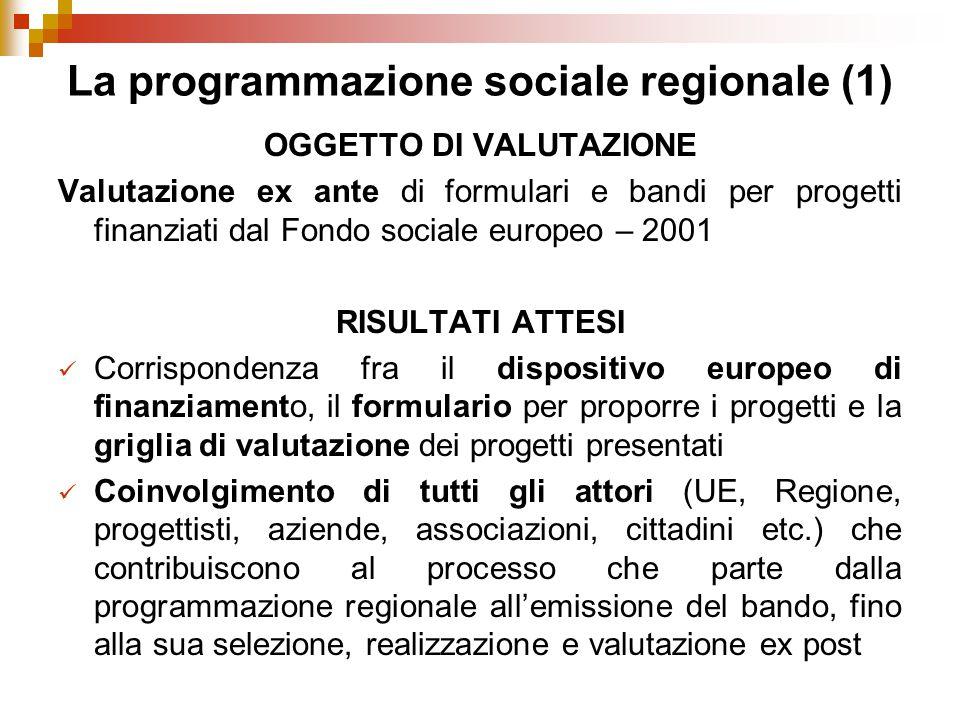 La programmazione sociale regionale (1) OGGETTO DI VALUTAZIONE Valutazione ex ante di formulari e bandi per progetti finanziati dal Fondo sociale europeo – 2001 RISULTATI ATTESI Corrispondenza fra il dispositivo europeo di finanziamento, il formulario per proporre i progetti e la griglia di valutazione dei progetti presentati Coinvolgimento di tutti gli attori (UE, Regione, progettisti, aziende, associazioni, cittadini etc.) che contribuiscono al processo che parte dalla programmazione regionale all'emissione del bando, fino alla sua selezione, realizzazione e valutazione ex post
