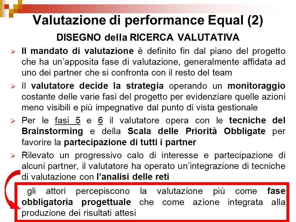 Valutazione di performance Equal (2) DISEGNO della RICERCA VALUTATIVA  Il mandato di valutazione è definito fin dal piano del progetto che ha un'appo