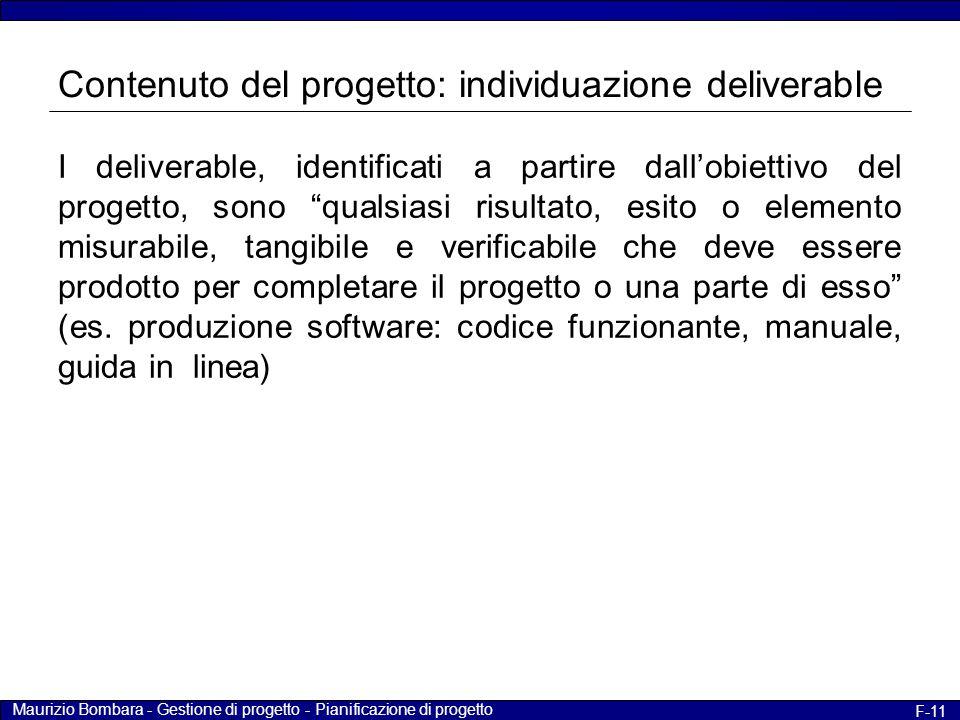 """Maurizio Bombara - Gestione di progetto - Pianificazione di progetto F-11 I deliverable, identificati a partire dall'obiettivo del progetto, sono """"qua"""