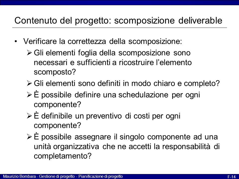 Maurizio Bombara - Gestione di progetto - Pianificazione di progetto F-14 Contenuto del progetto: scomposizione deliverable Verificare la correttezza