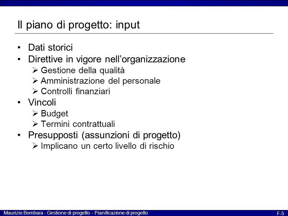 Maurizio Bombara - Gestione di progetto - Pianificazione di progetto F-5 Il piano di progetto: input Dati storici Direttive in vigore nell'organizzazi