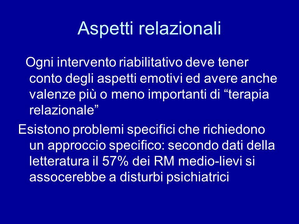 """Aspetti relazionali Ogni intervento riabilitativo deve tener conto degli aspetti emotivi ed avere anche valenze più o meno importanti di """"terapia rela"""