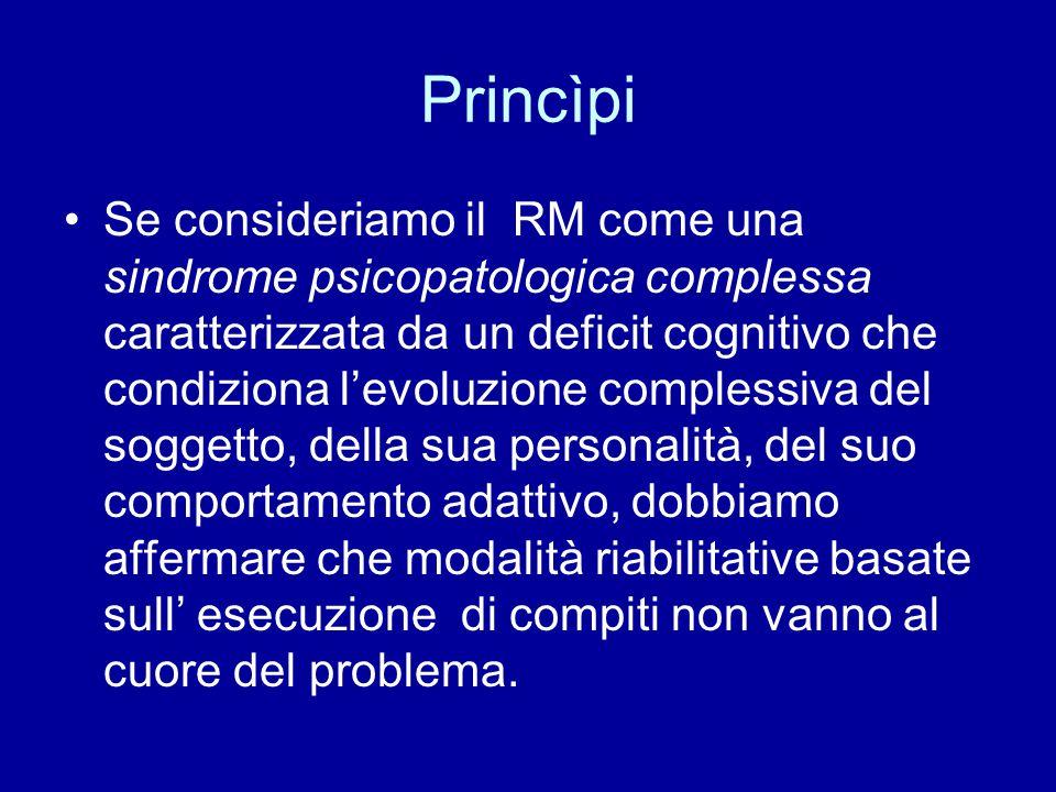 Princìpi Se consideriamo il RM come una sindrome psicopatologica complessa caratterizzata da un deficit cognitivo che condiziona l'evoluzione compless
