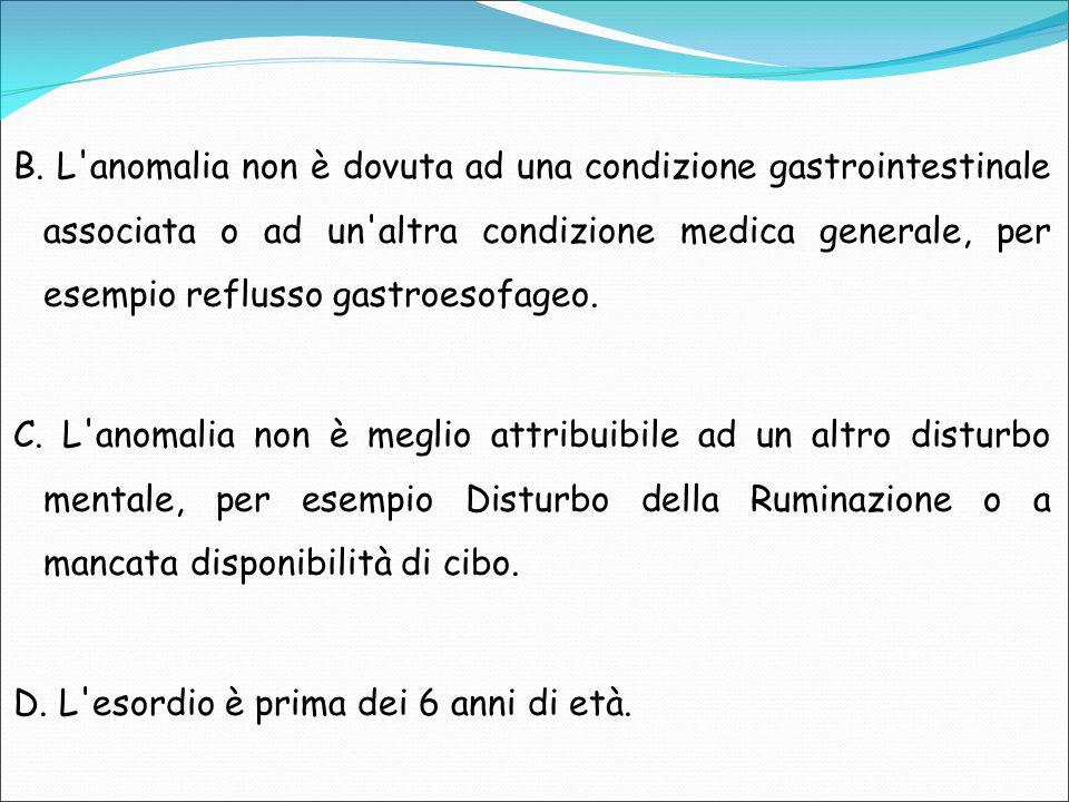 B. L'anomalia non è dovuta ad una condizione gastrointestinale associata o ad un'altra condizione medica generale, per esempio reflusso gastroesofageo