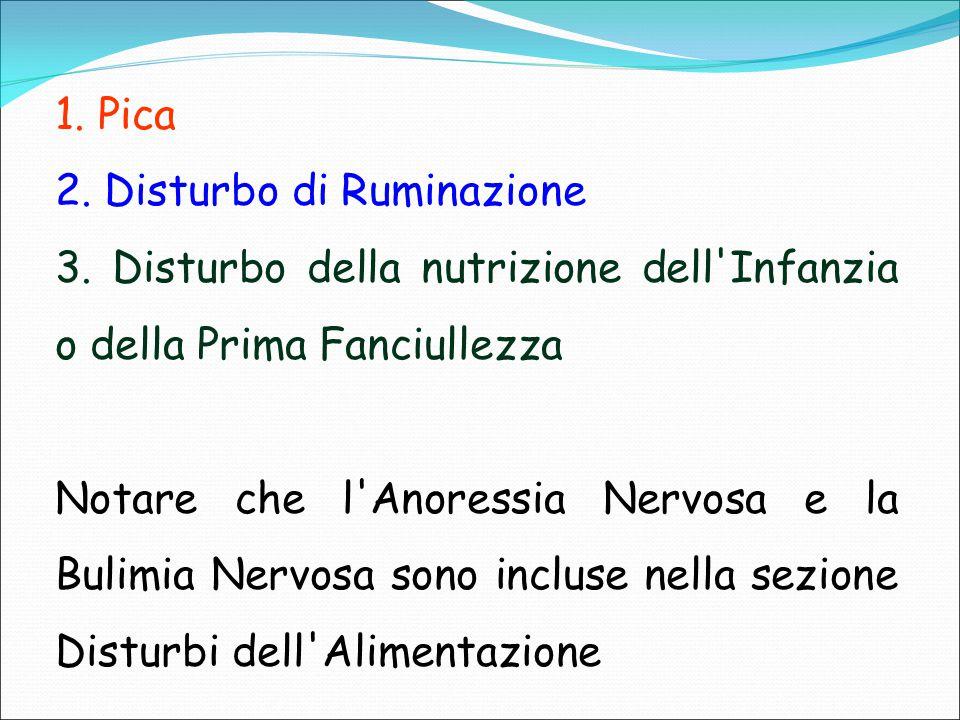 1. Pica 2. Disturbo di Ruminazione 3. Disturbo della nutrizione dell'Infanzia o della Prima Fanciullezza Notare che l'Anoressia Nervosa e la Bulimia N