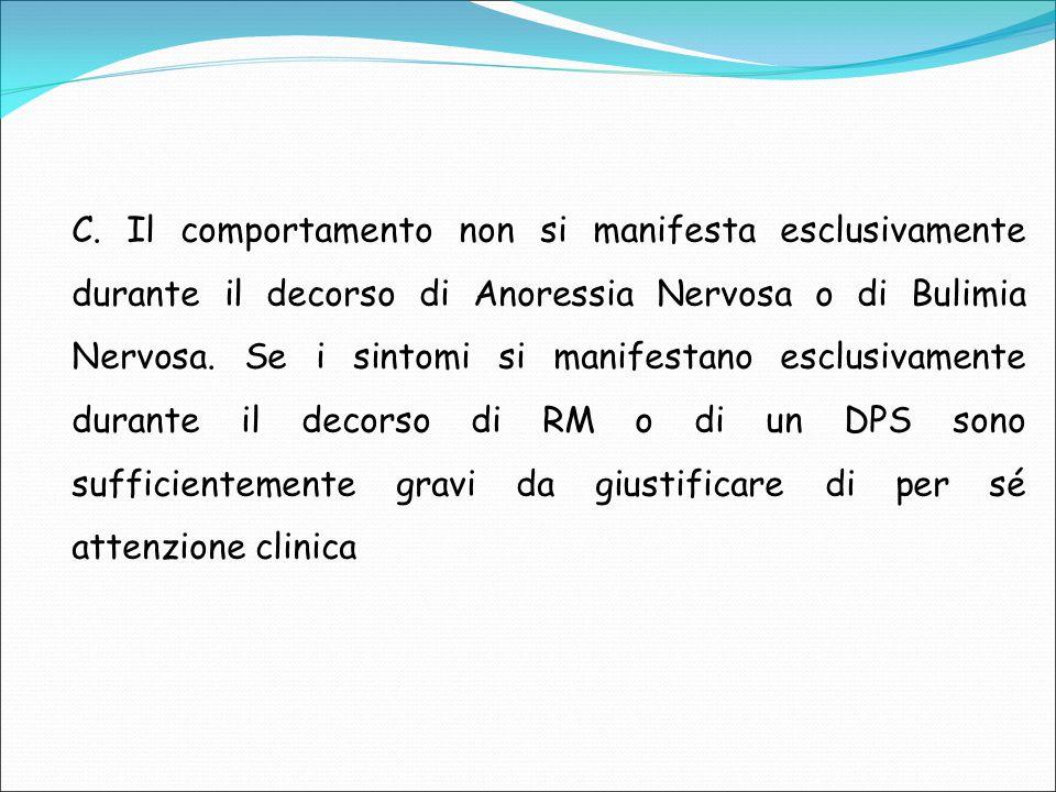 C. Il comportamento non si manifesta esclusivamente durante il decorso di Anoressia Nervosa o di Bulimia Nervosa. Se i sintomi si manifestano esclusiv