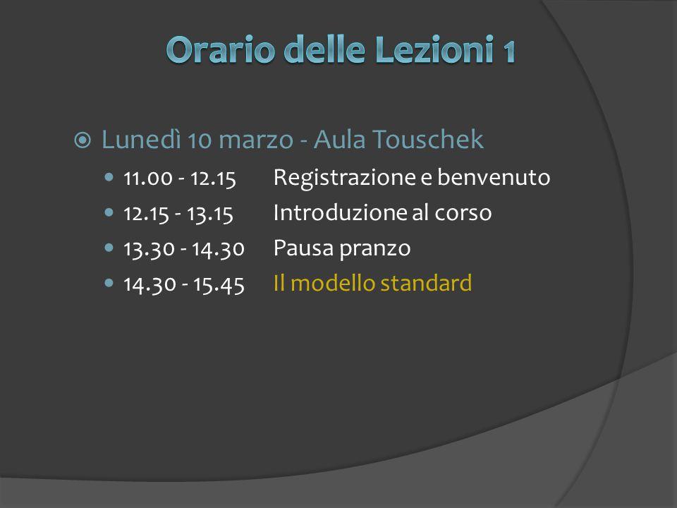  Lunedì 10 marzo - Aula Touschek 11.00 - 12.15Registrazione e benvenuto 12.15 - 13.15Introduzione al corso 13.30 - 14.30Pausa pranzo 14.30 - 15.45Il modello standard