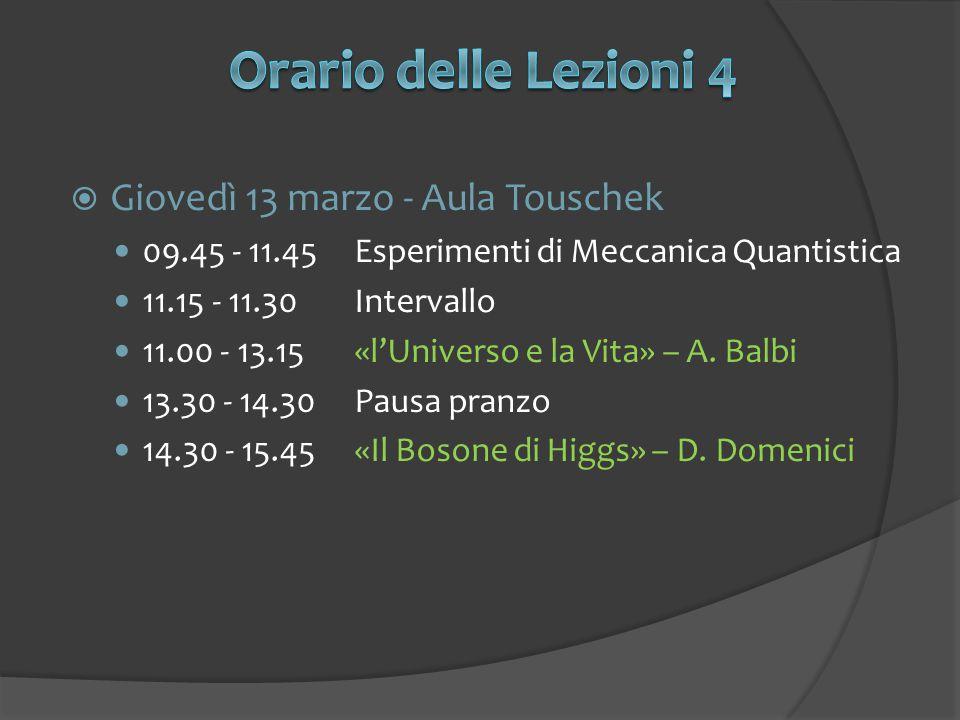  Giovedì 13 marzo - Aula Touschek 09.45 - 11.45Esperimenti di Meccanica Quantistica 11.15 - 11.30Intervallo 11.00 - 13.15«l'Universo e la Vita» – A.