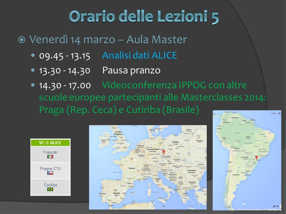  Venerdì 14 marzo – Aula Master 09.45 - 13.15Analisi dati ALICE 13.30 - 14.30Pausa pranzo 14.30 - 17.00Videoconferenza IPPOG con altre scuole europee partecipanti alle Masterclasses 2014: Praga (Rep.