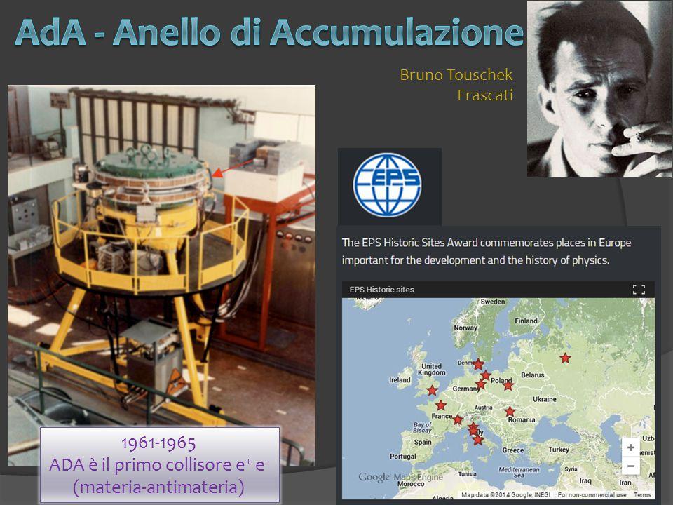 8 1961-1965 ADA è il primo collisore e + e - (materia-antimateria) Bruno Touschek Frascati