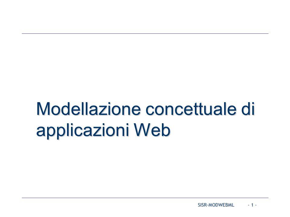 SISR-MODWEBML - 2 - Modellazione concettuale di applicazioni Web Metodologia di sviluppo per applicazioni Web data- intensive WebML (Web Modeling Language) – http://webml.org Modellazione del contenuto informativo Modellazione dell'ipertesto WebRatio: un tool di sviluppo per WebML – http://www.webratio.com