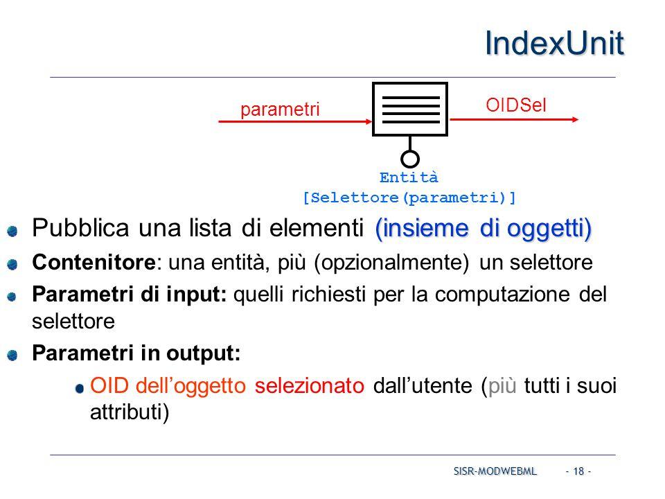 SISR-MODWEBML - 18 - IndexUnit (insieme di oggetti) Pubblica una lista di elementi (insieme di oggetti) Contenitore: una entità, più (opzionalmente) u