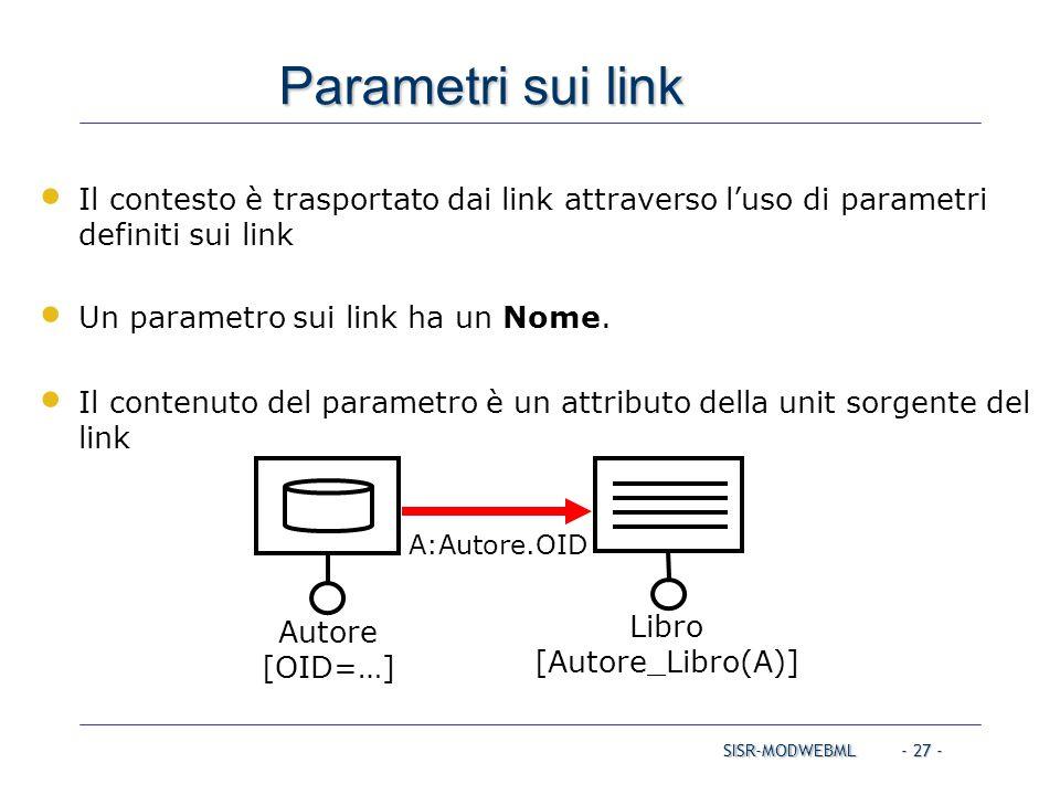 SISR-MODWEBML - 27 - Parametri sui link Libro [Autore_Libro(A)] Il contesto è trasportato dai link attraverso l'uso di parametri definiti sui link Un
