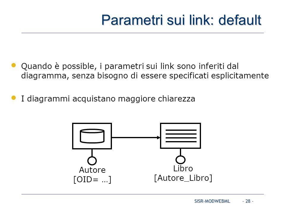 SISR-MODWEBML - 28 - Parametri sui link: default Autore [OID= …] Libro [Autore_Libro] Quando è possible, i parametri sui link sono inferiti dal diagra